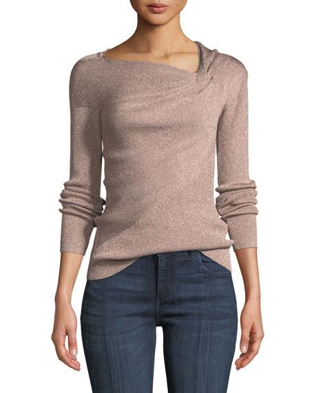 3.1 Phillip Lim Metallic Ribbed Draped Pullover Sweater