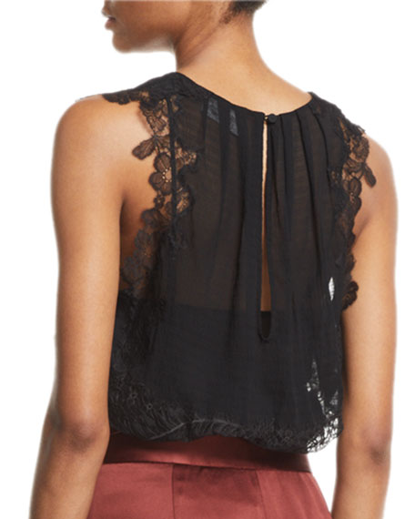 Image 2 of 2: 3.1 Phillip Lim Silk V-Neck Lace Tank