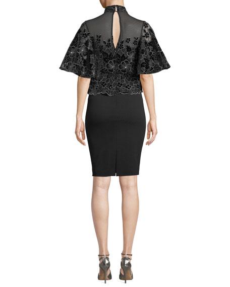 Badgley Mischka Collection Floral Velvet Burnout Popover Dress