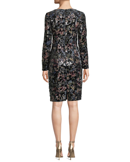 Badgley Mischka Collection Floral Sequin Long Sleeve
