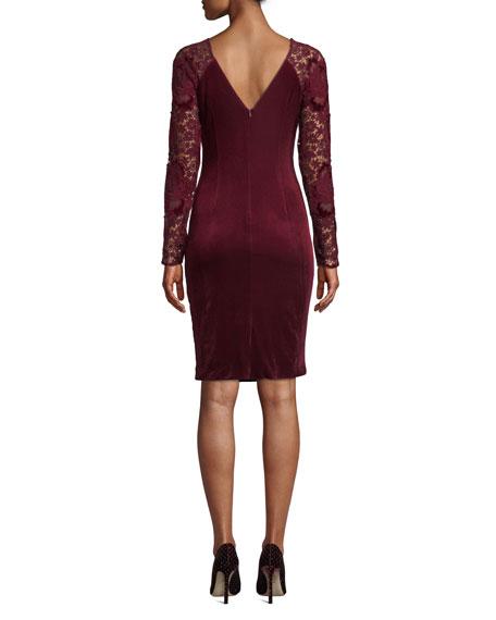 Badgley Mischka Collection Lace Long-Sleeve & Velvet Dress