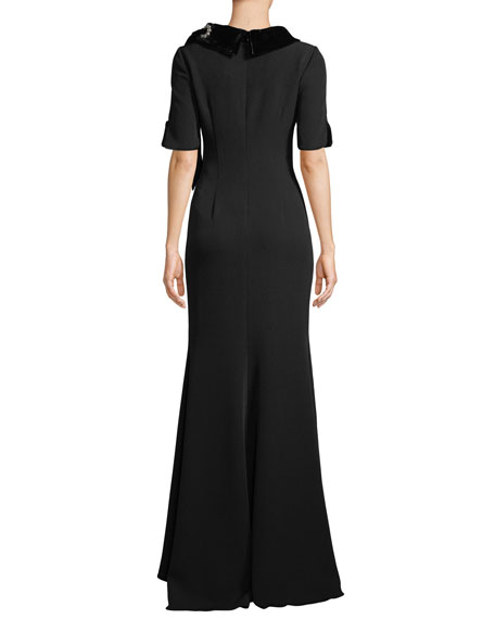 Badgley Mischka Collection Velvet & Grommet Stand-Collar Crepe Gown
