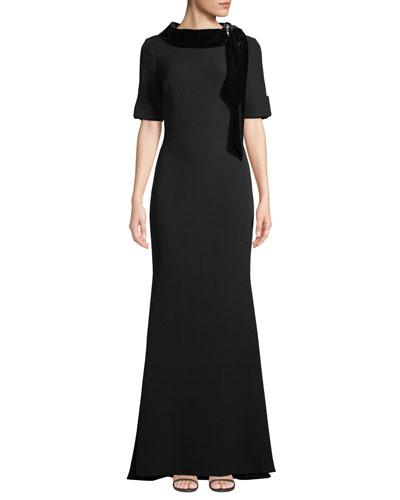 Velvet & Grommet Stand-Collar Crepe Gown