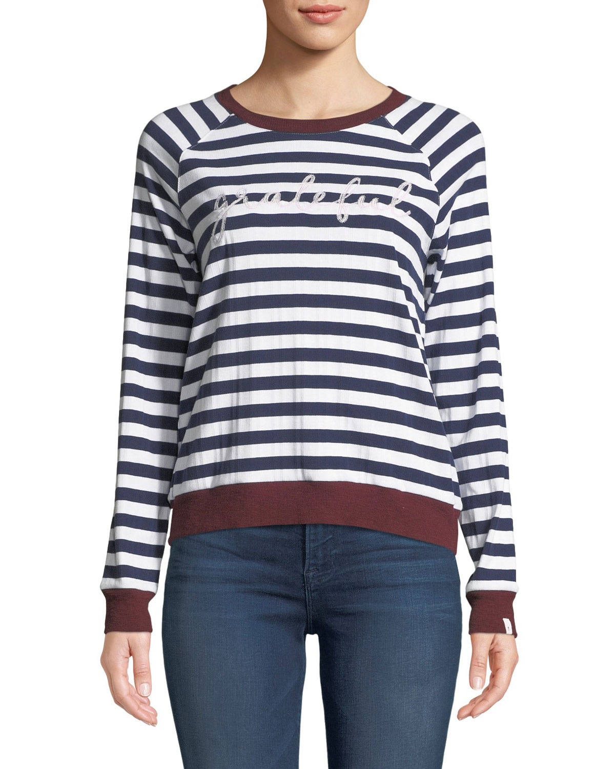 c3fcb1037e6 The Upside Goldie Striped Embroidered Long-Sleeve Tee