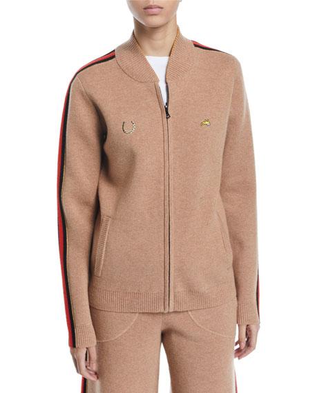 Bella Freud Race Track Zip-Up Track Jacket w/ Side Stripes