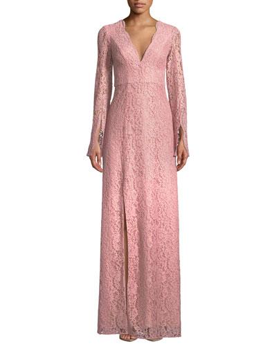 Viv Slit-Sleeve Lace Gown