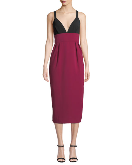 Image 1 of 3: Jill Jill Stuart Two-Tone V-Neck Sleeveless Cocktail Dress