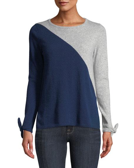 Neiman Marcus Cashmere Collection Cashmere Long-Sleeve Tie-Cuff Crewneck Colorblock Sweater