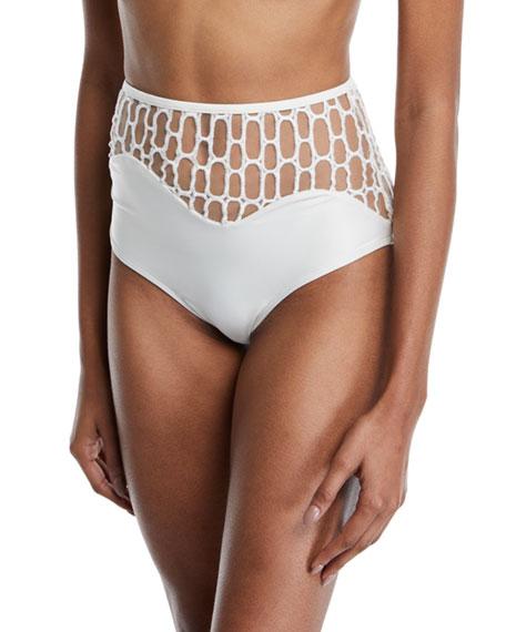 Agua de Coco Atlantica Mesh High-Waist Bikini Swim Bottoms