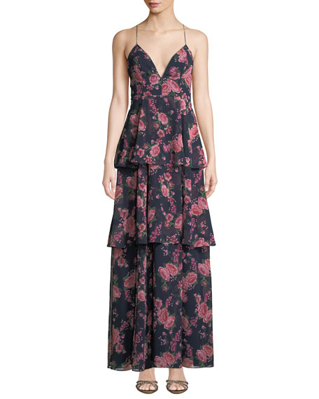 Fame And Partners The Wyatt Floral Tiered Ruffle Dress