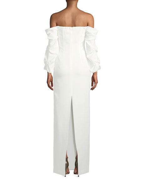 Black Halo Taraji Off-the-Shoulder Ruffle-Sleeve Gown