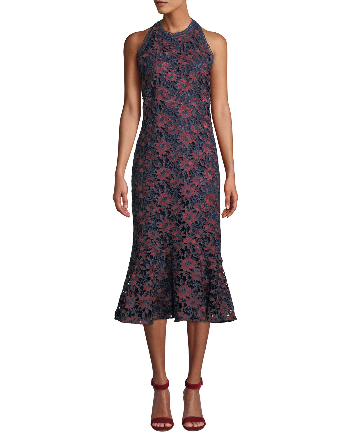 35fee1e9 Shoshanna Tupper Floral Lace Sleeveless Midi Dress | Neiman Marcus