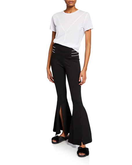 CUSHNIE High-Waist Front-Slit Flare Pants