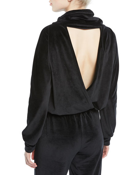 CUSHNIE Funnel-Neck Velour Deep V Pullover Top