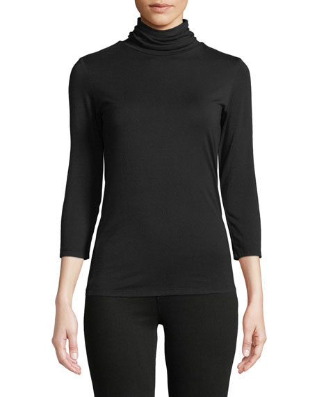 L'Agence Aja 3/4-Sleeve Turtleneck Top