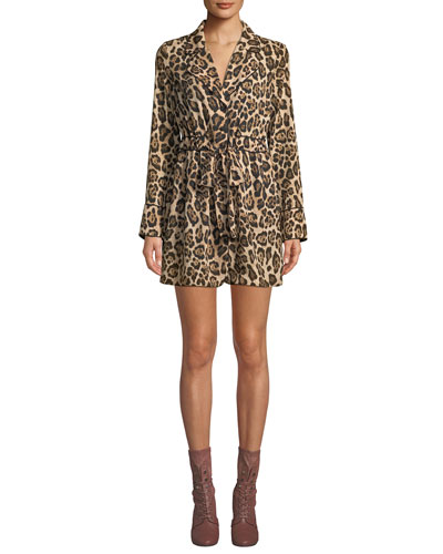 Leopard-Print Long-Sleeve Mini Shirtdress