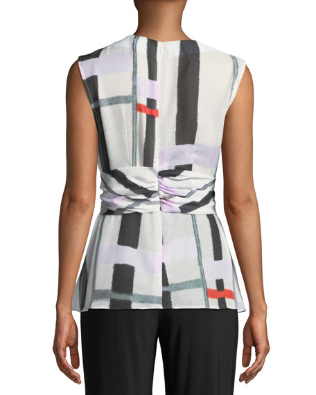 Image 2 of 2: Josie Natori V-Neck Sleeveless Asymmetrical Knot Voile Top