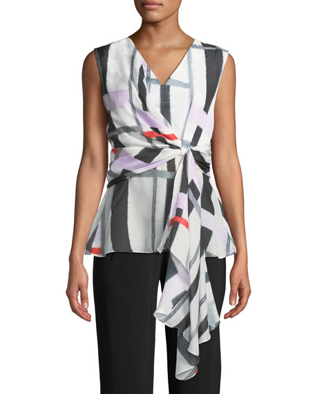 Image 1 of 2: Josie Natori V-Neck Sleeveless Asymmetrical Knot Voile Top