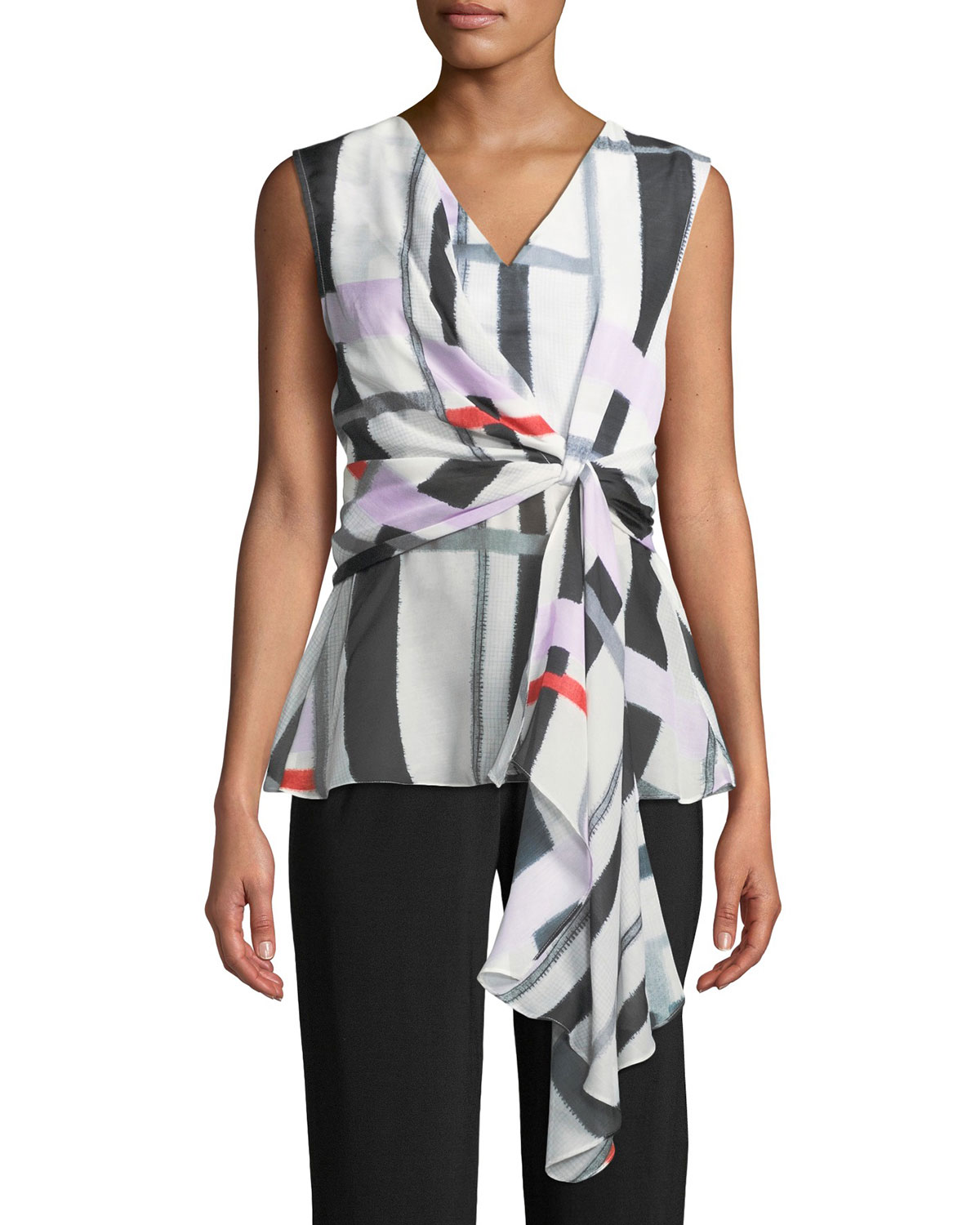 Josie Natori V-Neck Sleeveless Asymmetrical Knot Voile Top