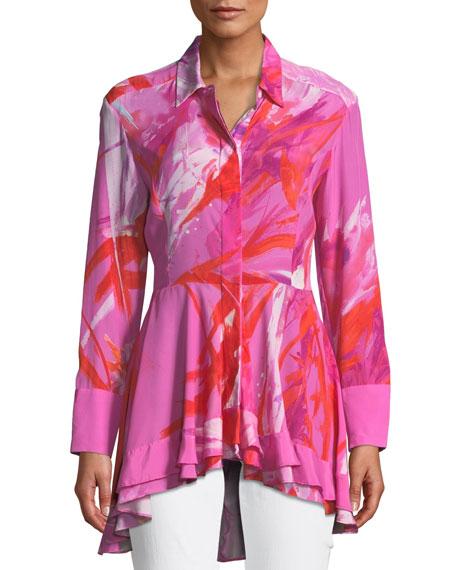 Josie Natori Prism Button-Front Long-Sleeve Peplum Blouse
