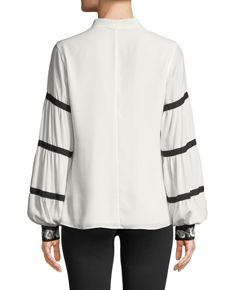 Josie Natori V-Neck Bishop-Sleeve Blouse w/ Grosgrain Trim & Embroidered Cuffs