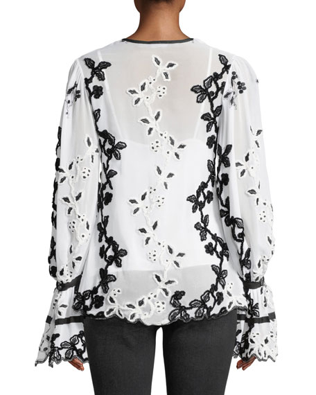 Josie Natori V-Neck Dramatic Long-Sleeve Embroidered Top