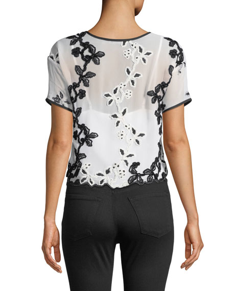 Josie Natori Short-Sleeve Cropped Embroidered Tee with Solid Cami