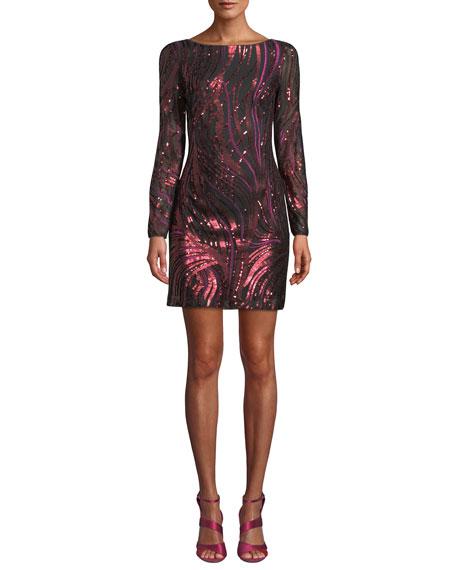 Aidan by Aidan Mattox Long-Sleeve Sequin-Ribbon Mini Dress