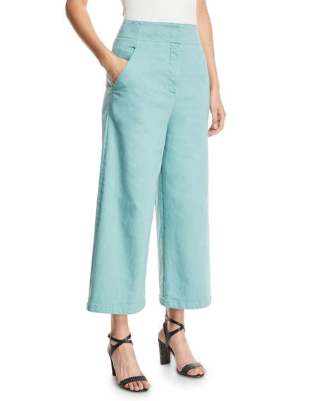 Tibi Demi Wide-Leg Garment-Dyed Twill Cropped Jeans