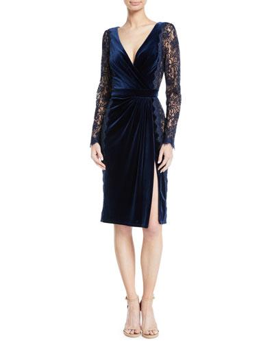 Lace Long-Sleeve & Velvet V-Neck Dress