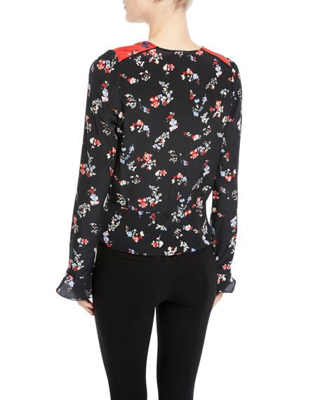 Tanya Taylor Clio Floral Long-Sleeve Silk V-Neck Top