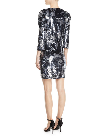Tanya Taylor Zoey Sequined Camo 3/4-Sleeve Wrap Dress