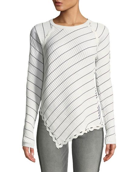 Jonathan Simkhai Zigzag-Trim Striped Long-Sleeve Asymmetrical Top