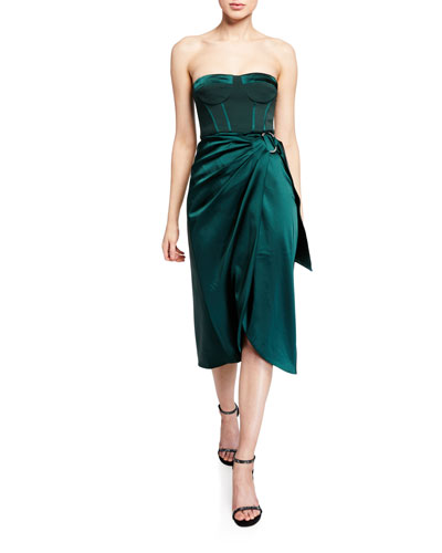 Crepe Satin Combo Bustier Cocktail Dress