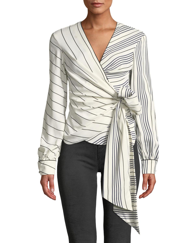 d3744ca2fe231 Jonathan Simkhai Multimedia Stripe Long-Sleeve Wrap Top