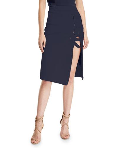 Grommet Jacquard Lace-Up Skirt