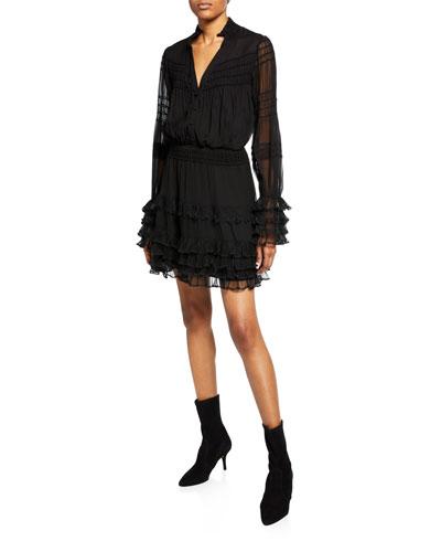 Shannon Smocked Ruffle Silk Dress
