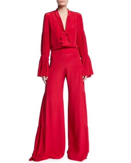 Alexis Talley Shirred Wide-Leg Silk Pants