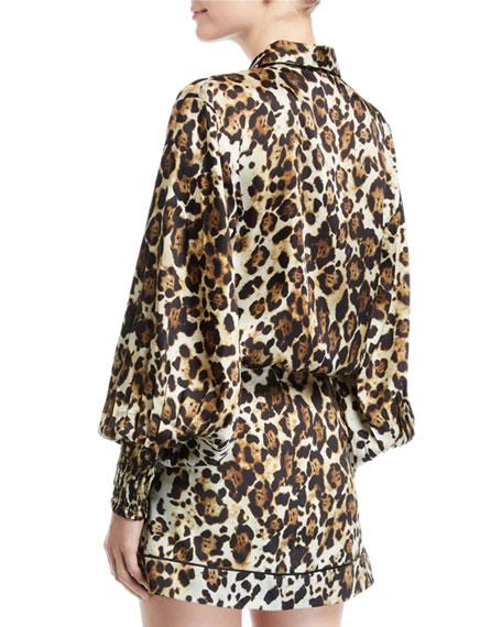 Alexis Romana Leopard-Print Button-Down Top
