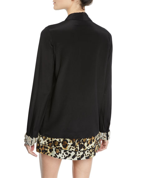 Alexis Ottavia Button-Front Silk Top with Embellished Cuffs