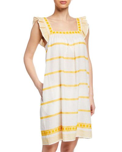 Sleeveless Striped Embroidered Sun Dress w/ Ruffle Detail
