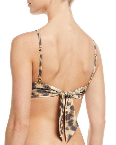 PilyQ Kylie Leopard-Print Triangle Bikini Swim Top