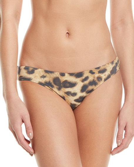 Image 1 of 2: PQ Swim Basic Ruched Animal-Print Hipster Bikini Bottoms