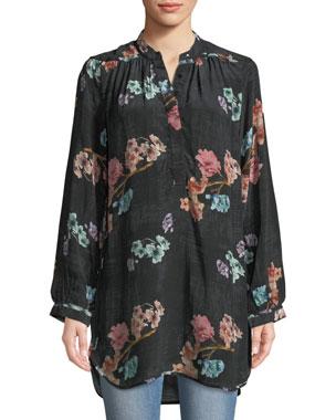 d704d00c4b3eb Tolani Plus Size Natasha Botanical-Print Long-Sleeve Tunic