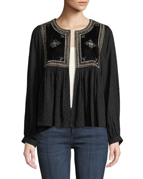 Velvet Embroidered Hook-Front Long-Sleeve Top