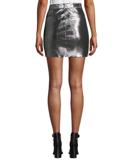 RtA Marlin Belted Metallic Leather Mini Skirt