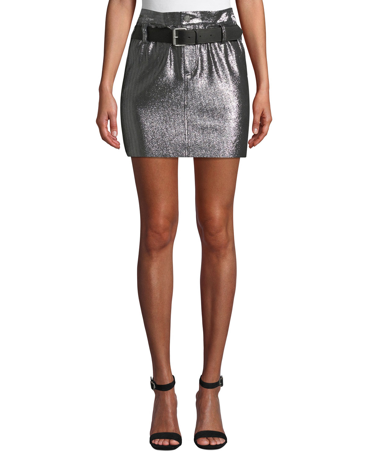 5d0842f6d17c RtA Marlin Belted Metallic Leather Mini Skirt | Neiman Marcus