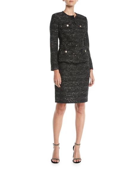 ALBERT NIPON Tweed Two-Piece Jacket & Skirt Suit Set in Black/Gold