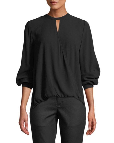 Eileen Fisher Overlap-Front Silk Crepe Blouse
