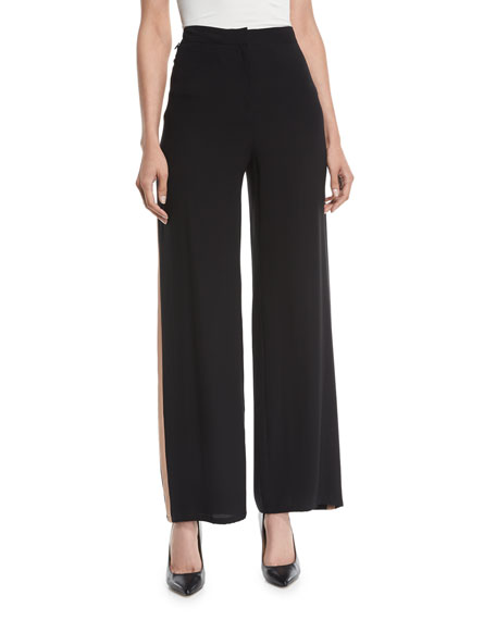 Eileen Fisher Side-Striped Silk Crepe Pants